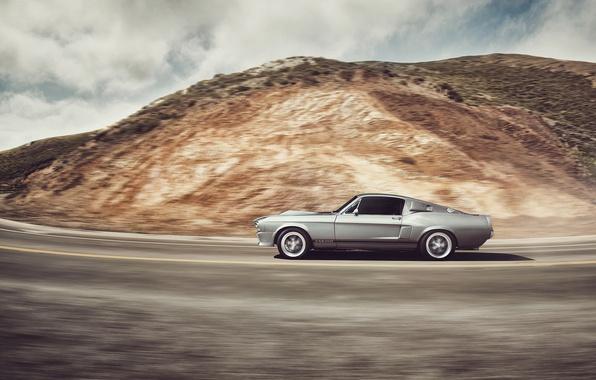 Картинка car, форд, в движении, ford mustang, muscle car, gt500, автообои, dejan sokolovski photography
