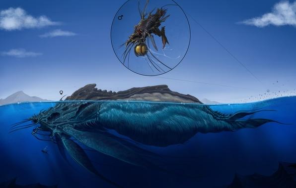 Картинка вода, облака, абстракция, человек, водолаз, арт, монстры, под водой