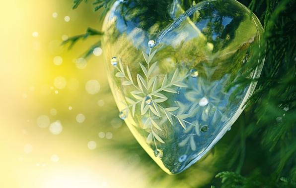 Картинка сердце, шар, блестки, украшение, хвоя, снежинка, прозрачное, боке, декор, стеклянное