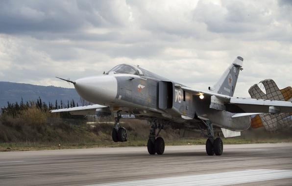 Картинка взлет, Бомбардировщик, Су-24, Сухой