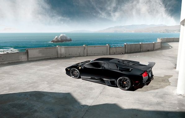 Картинка Lamborghini, Black, Murcielago, LP670-4, Sea, Supercar, Rear