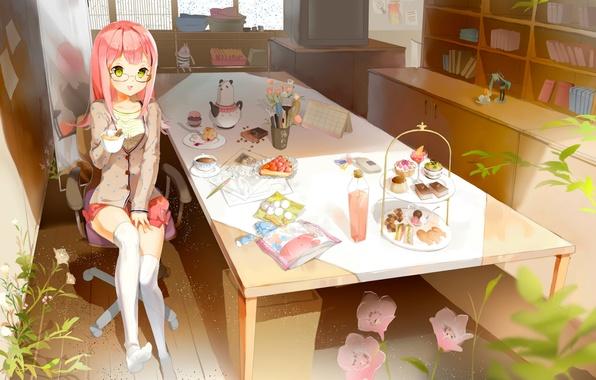 Картинка стол, комната, игрушки, книги, растения, кресло, чулки, зеркало, телевизор, окно, чаепитие, девочка, сладости, hatsune miku