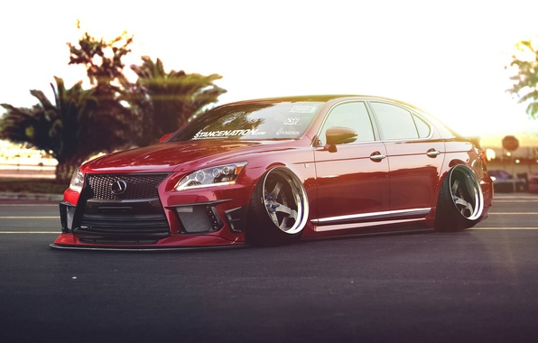 Картинка Lexus, Red, Car, Front, Stance, Low, LS 460