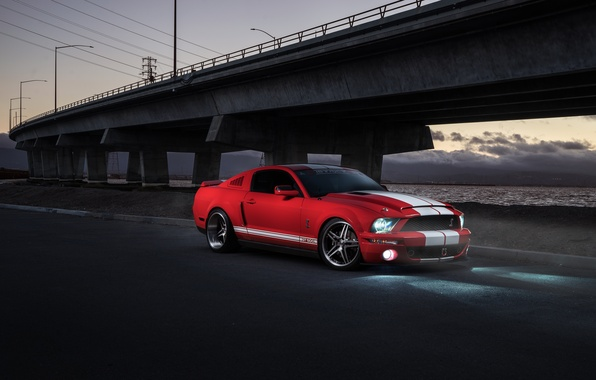 Картинка Mustang, Ford, Shelby, GT500, Muscle, Light, Red, Car, Front, Sunset, Collection, Aristo