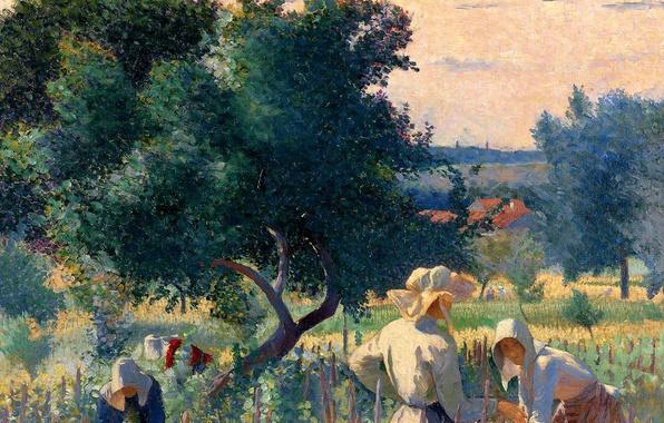 Картинка женщины, пейзаж, картина, жанровая, Анри Эдмон Кросс, WomenTying the Vine