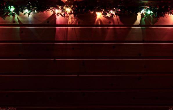 Картинка огни, уют, дерево, доски, текстура, фанарики, Герлянда
