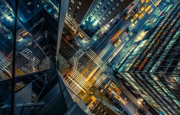 Картинка дорога, авто, ночь, city, город, огни, улица, здание, высота, небоскребы, перекресток, такси, сша, вид сверху, …