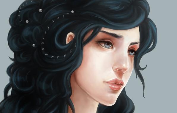 Картинка Девушка, брюнетка, жемчуг, голубые глаза