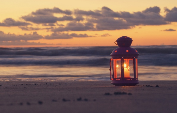 Картинка песок, море, пляж, небо, облака, пейзаж, закат, фонарь, beach, sky, sea, landscape, nature, sunset, view, ...