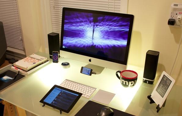 Картинка стол, iPhone, iPod, мебель, книга, монитор, book, Cool Desktop, телефон.гаджет