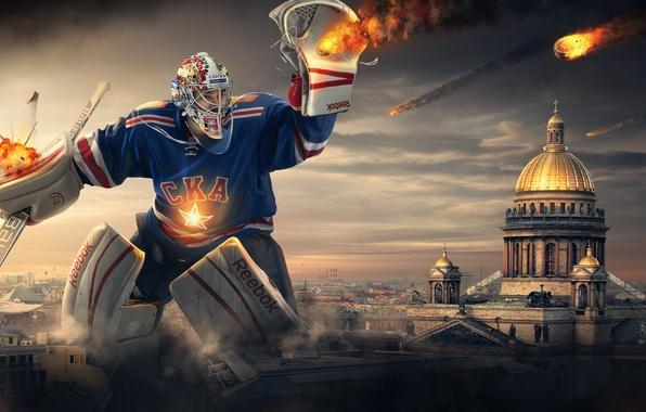 Картинка вратарь, хоккеист, Хоккей, Hockey, СКА, SKA, шайбы, Reebok