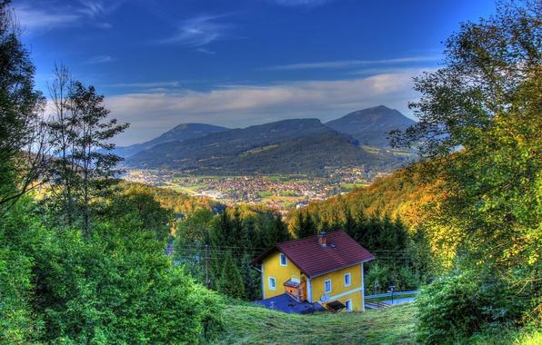 Картинка осень, небо, солнце, горы, поля, HDR, дома, Австрия, панорама, леса, Hallein