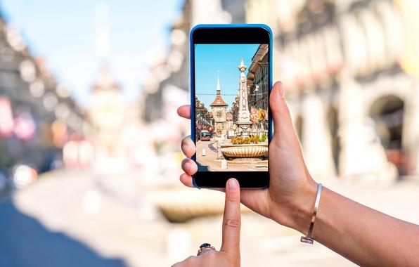 Фото обои Берн, my planet, cyberspace, travel, smartphone, wallpaper., боке, размытость, фотосъемка, старый город, вид центр, technology, ...