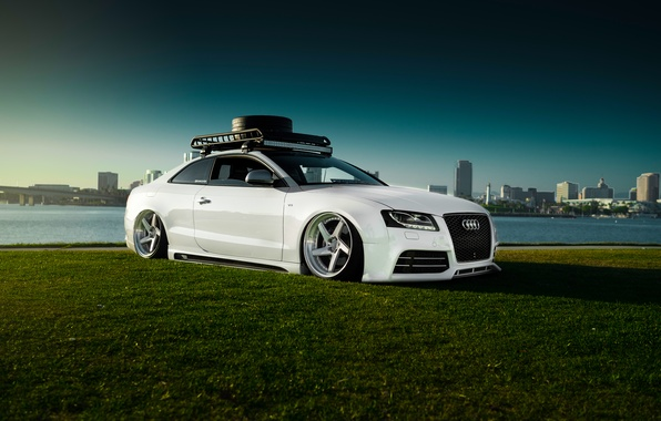 Картинка Audi, Car, Sky, Grass, RS5, White, Low, Stancenation