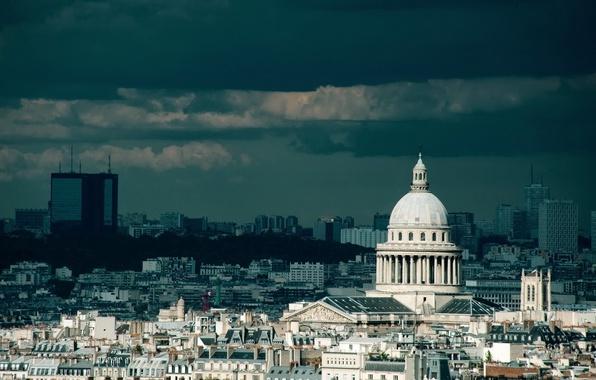 Картинка небо, облака, тучи, город, здания, башня, париж, дома, франция, paris, строения, france, страна