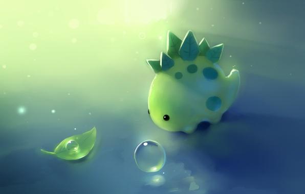 Картинка капли, лист, зеленый, динозавр, листик, apofiss, крапинка