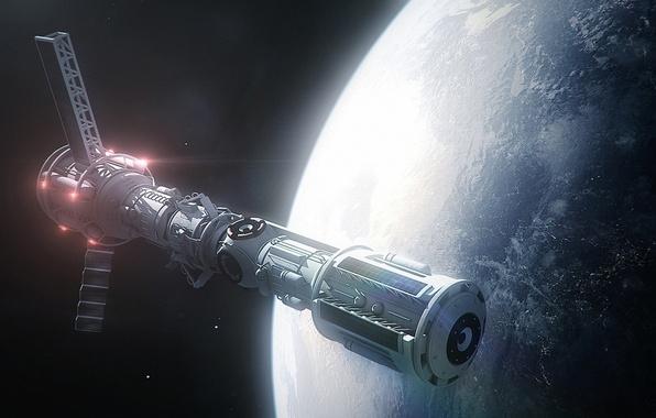 Картинка космос, корабль, планета, арт, орбита