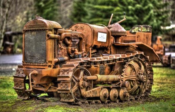 Фото обои старый, трактор, раритет