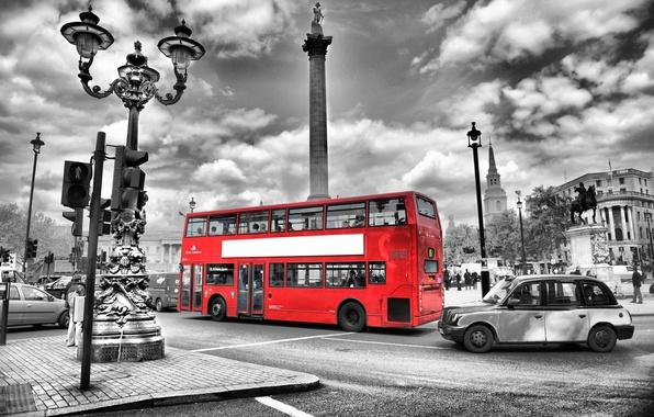 Картинка дорога, ночь, city, город, lights, огни, черно-белый, улица, Англия, Лондон, размытие, автобус, london, road, night, …