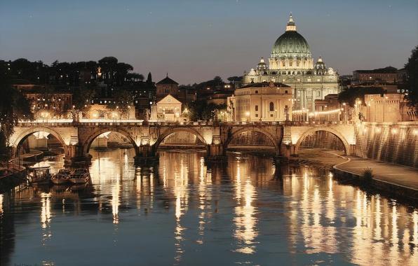 Картинка мост, город, огни, река, Рим, Италия, искусство, Rod Chase, Собор Святого Петра, Тибр, Базилика, Glory …
