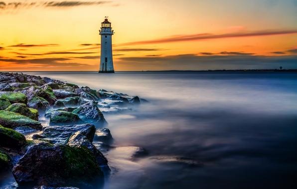 Картинка море, пейзаж, природа, камни, берег, маяк, beach, sea, landscape, nature, stones, lighthouse
