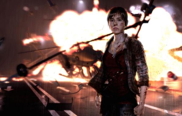 Картинка дорога, взгляд, обломки, девушка, взрыв, огонь, крушение, ожерелье, вертолет, Quantic Dream, PS3, шрамы, Эллен Пейдж, …
