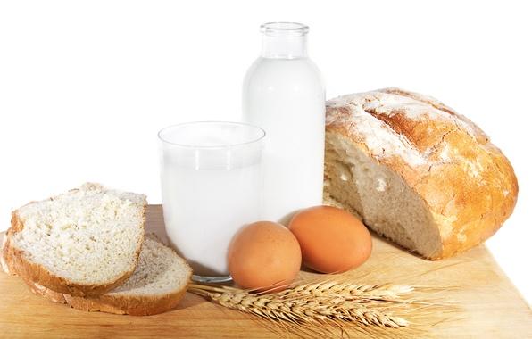 Картинка пшеница, еда, яйца, молоко, хлеб, кувшин, простая еда
