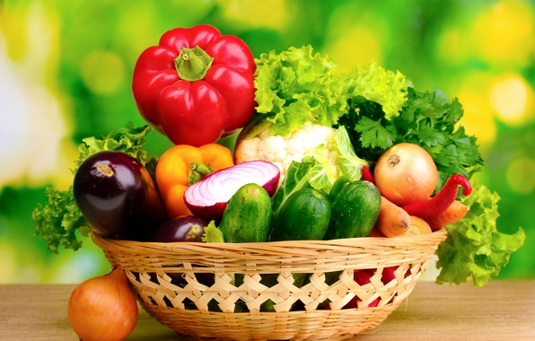 Картинка лук, баклажан, овощи, петрушка, огурцы, салат, паприка