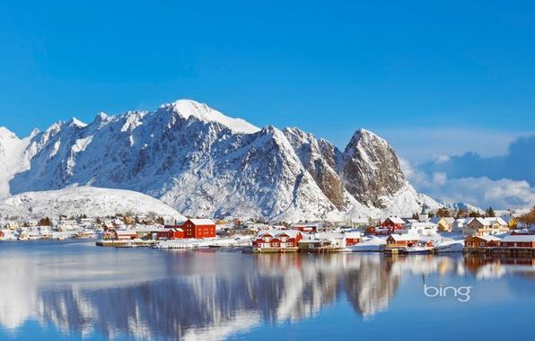Картинка зима, море, небо, снег, горы, дом, Норвегия, поселок, Norway, Lofoten Islands, Reine