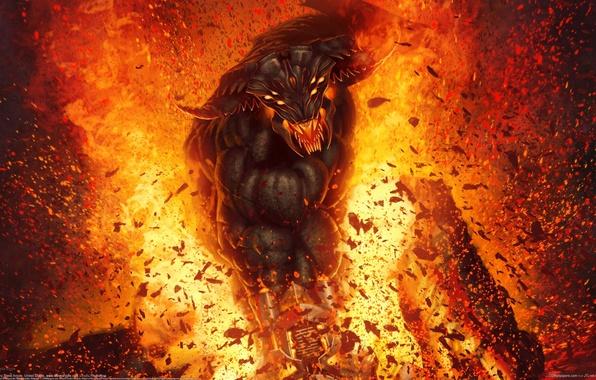 Картинка глаза, огонь, рисунок, демон, разрушение, рога, art