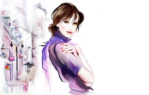Картинка взгляд, девушка, отражение, улица, волосы, рука, дома, шарф, фонарь, лужи, Tatiana Nikitina