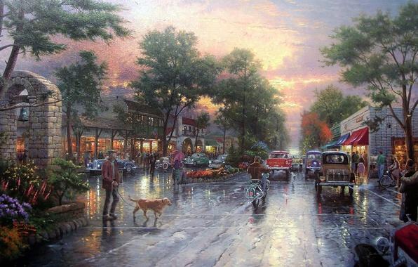 Картинка дорога, закат, city, ретро, улица, проспект, здания, городок, живопись, аллея, автомобили, cars, sunset, street, houses, …
