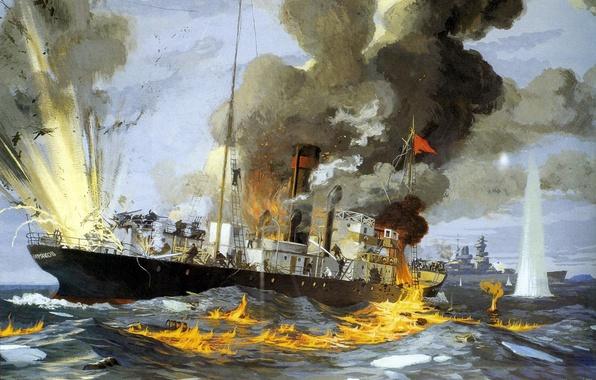 Картинка море, огонь, пламя, война, дым, масло, взрывы, картина, бой, пароход, холст, крейсер, немецкий, тяжёлый, ледокольный, …
