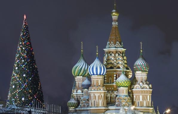 Картинка елка, ель, Рождество, Москва, Новый год, Кремль, Собор Василия Блаженного, Красная площадь, Christmas, Ёлка, New, …