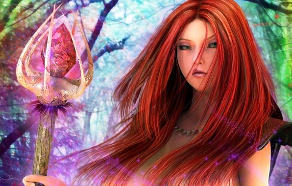 Картинка кристалл, девушка, магия, фэнтези, арт, посох, рыжая