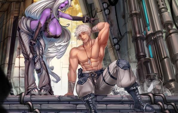 Картинка грудь, девушка, эльф, аниме, арт, мужчина, парень, эльфийка, мускулы, night elf