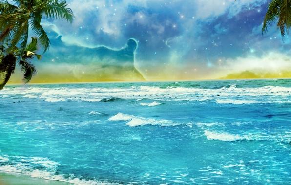 Картинка пляж, небо, облака, пальмы, океан, берег, звёзды, арт