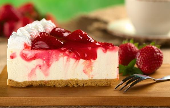 Картинка ягоды, клубника, торт, пирожное, десерт, кусок, сладкое, чизкейк