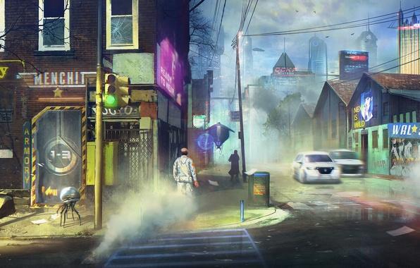 Картинка город, дом, будущее, фантастика, улица, светофор, перекресток, pittsburgh