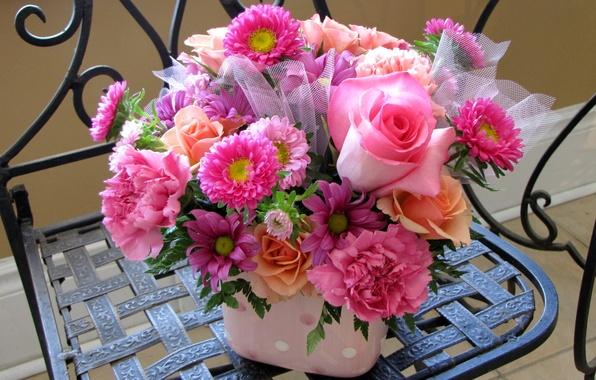 Картинка цветок, цветы, розы, букет, розовые, гвоздики