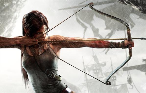Картинка девушка, лук, стрела, Tomb Raider, Лара Крофт, тетива, Lara Croft