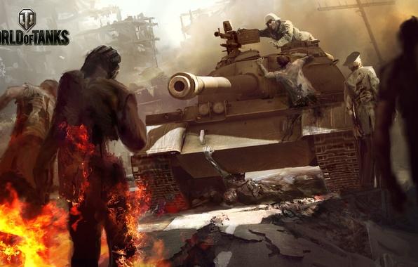 Картинка Огонь, Пламя, Танк, Зомби, WoT, World of Tanks, Мир Танков, Wargaming Net