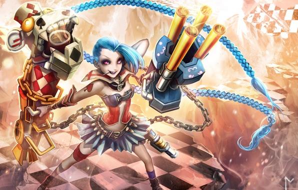 Картинка девушка, улыбка, оружие, магия, art, league of legends, gevurah-studios, jinx