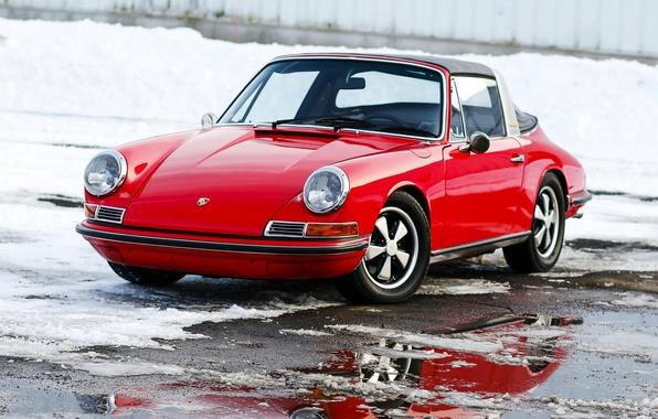 Картинка зима, 911, Porsche, 1969, порше, классика, Targa, тарга