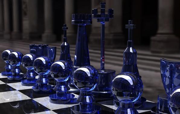 Картинка игра, шахматы, glass, доска, фигуры, стратегия, rendering, чёрное и белое, Kjasi, Chess set, синее стекло, …