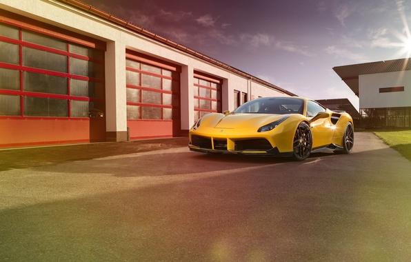Картинка машина, желтый, Ferrari, суперкар, supercar, yellow, передок, Rosso, Novitec, 488 GTB