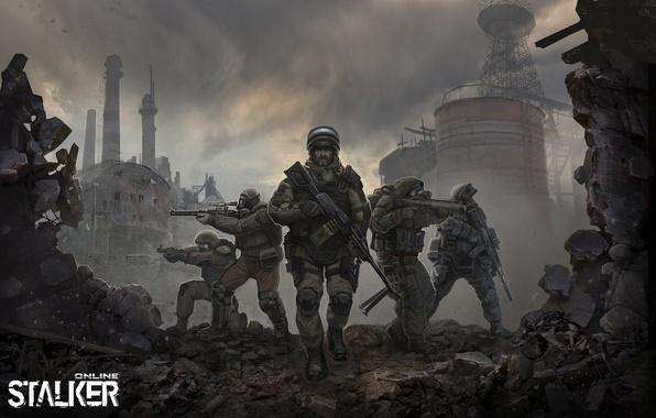 Картинка арт, солдаты, stalker, сталкер, online