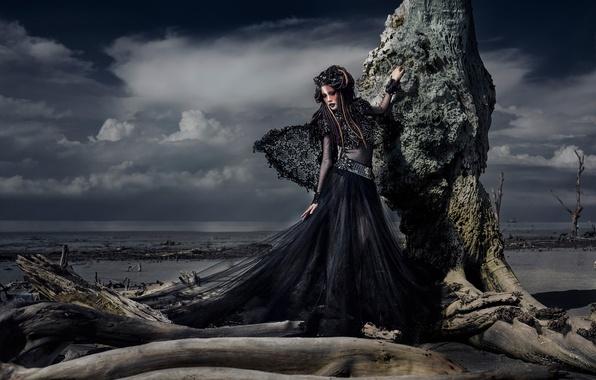 Картинка девушка, корни, дерево, берег