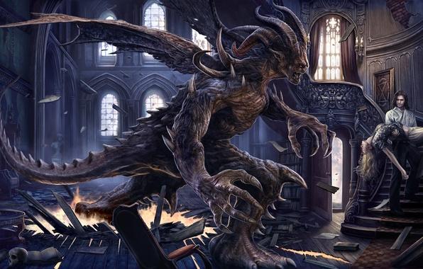 Картинка обломки, девушка, дом, жертва, крылья, демон, арт, лестница, рога, парень