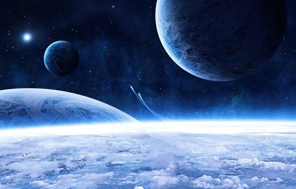Картинка звезды, облака, планеты, голубая красота, космические корабли, beautiful blue